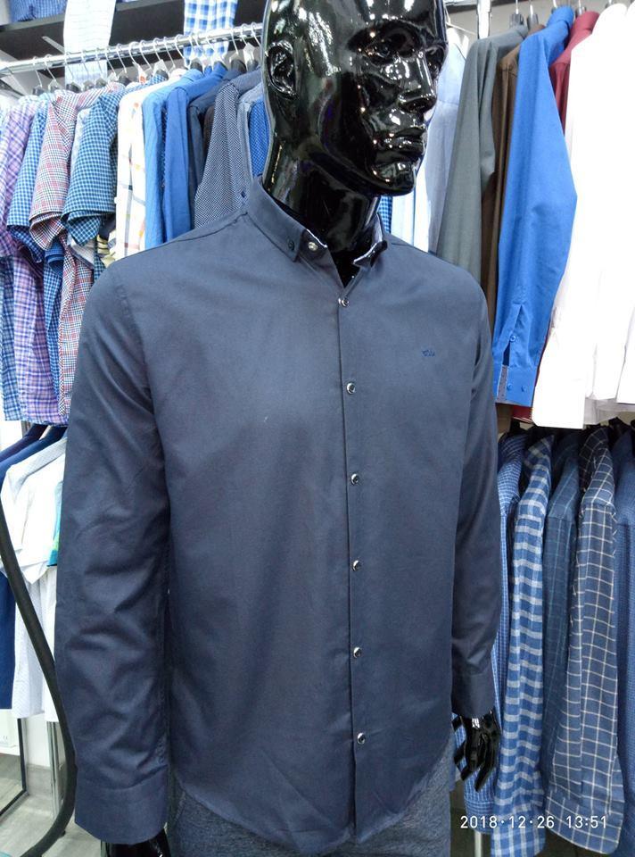 Сорочка чоловіча, приталена (Slim Fit), з довгим рукавом Bagarda BG5585 NAVY 93% бавовна 7% еластан XXL(Р)