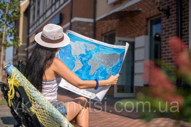 Скретч-карта світу англійською мовою «Discovery Map World», купить карту Киев