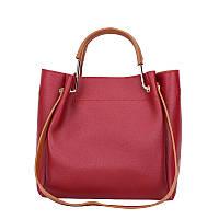 Красная сумка женская из экокожи с коричневым ремешком опт, фото 1