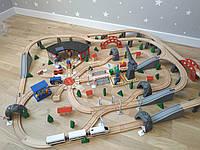 XXL деревянная железная дорога 202 элемента Woody Premium с электропоездом