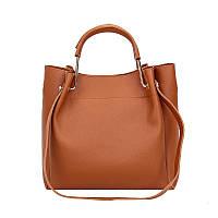 Вместительная женская сумка из экокожи коричневая опт, фото 1
