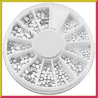 Камни Стразы для Ногтей Белые Разного Размера качество LUX в Каруселях Упаковками, Дизайн Ногтей
