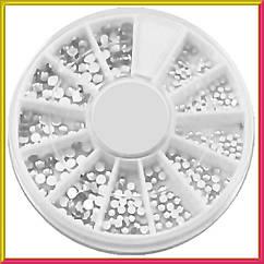 Камни Стразы Белые Разного Размера качество LUX в Каруселях Упаковками для Ногтей