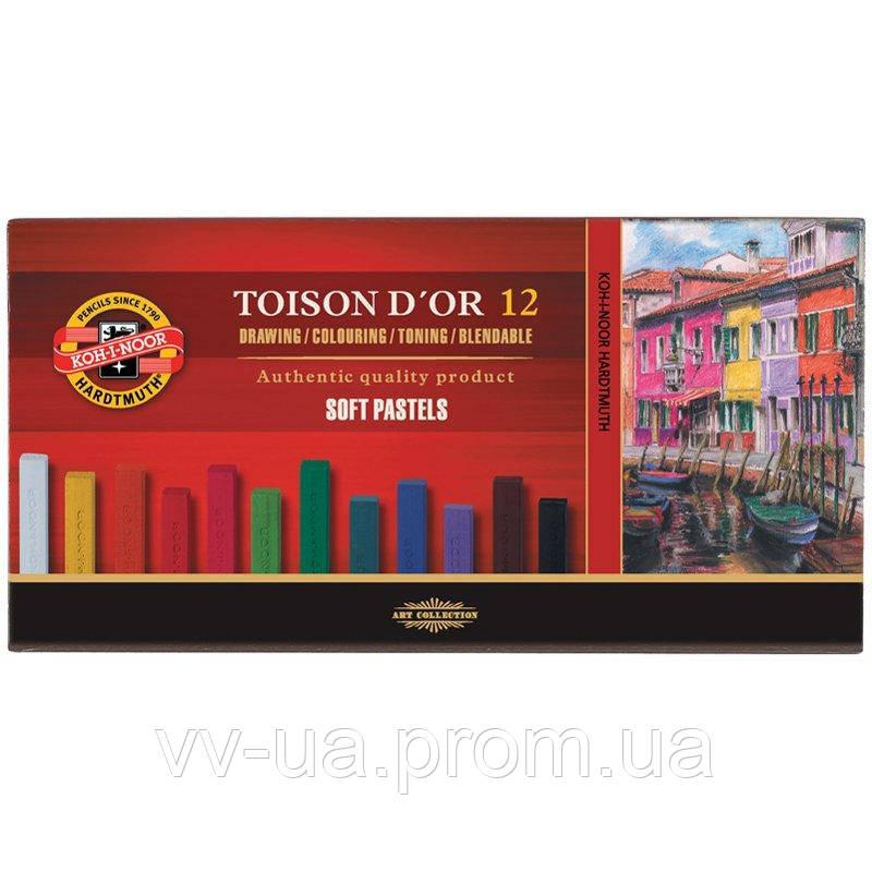Сухие мягкие пастельные мелки Koh-i-Noor Toison d'Or, 12 цветов 8512
