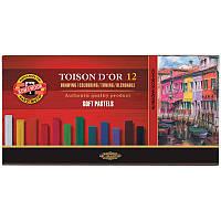 Сухие мягкие пастельные мелки Koh-i-Noor Toison d'Or, 12 цветов 8512, фото 1