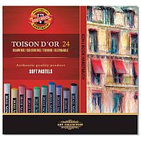 Сухие мягкие пастельные мелки Koh-i-Noor Toison d'Or, 24 цвета 8514