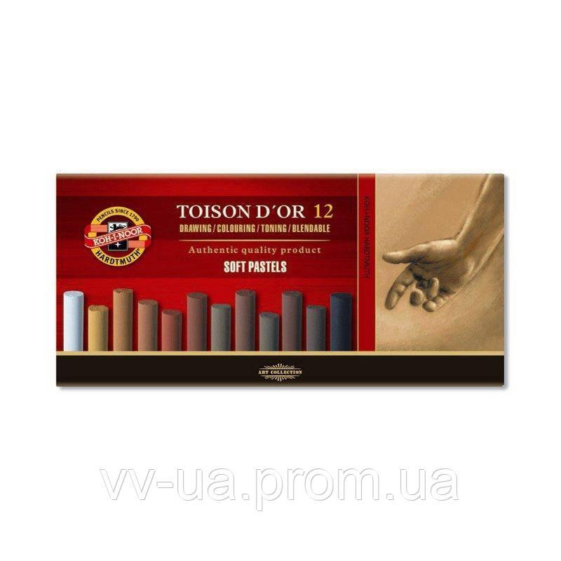 Сухие пастельные мелки Koh-i-Noor Toison d'Or, 12 цв., коричневые оттенки (8522012002BR)