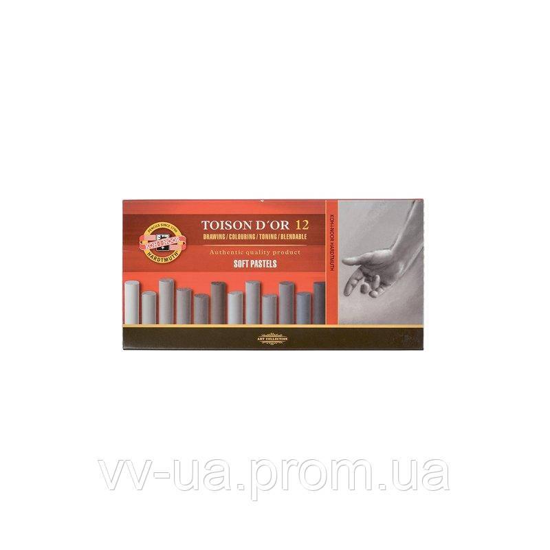 Сухие пастельные мелки Koh-i-Noor Toison d'Or, 12 цв., серые оттенки