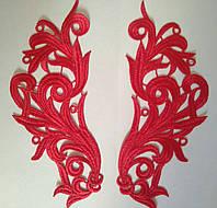 Кружевной фрагмент (лейс) Глория красный, 22х9 см. Цена за пару, фото 1