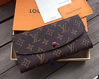 Женский кожаный кошелек в стиле Louis Vuitton (60136) red, фото 1