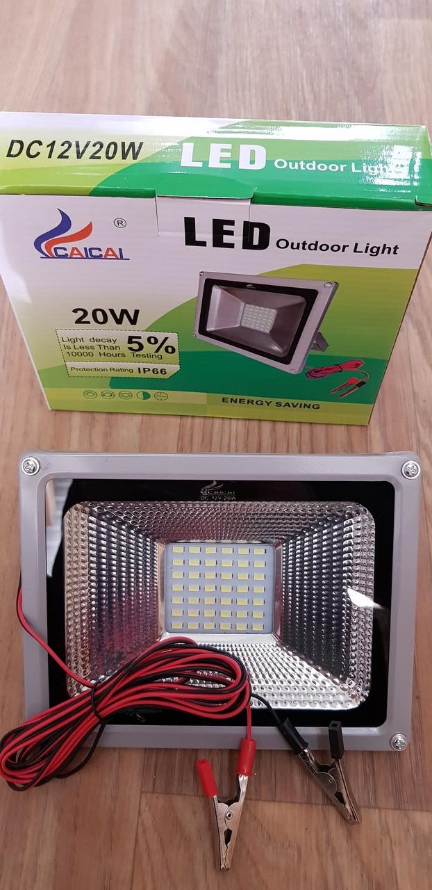 Переносной светодиодный прожектор 12v 20w LED 20w 12v (на зажимах крокодилах)