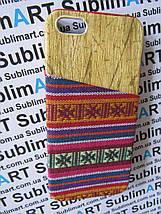 Дизайнерский чехол ручной работы для Iphone 5/5s (дерево ткань с кармашком), фото 2