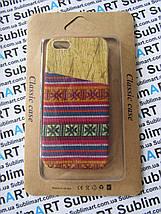 Дизайнерский чехол ручной работы для Iphone 5/5s (дерево ткань с кармашком), фото 3