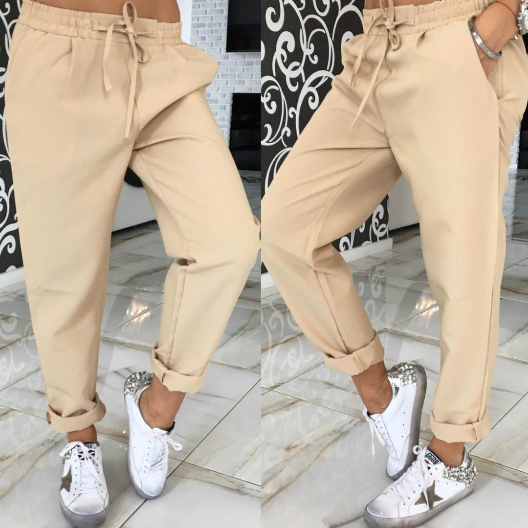Женские брюки в спортивном стиле из габардина