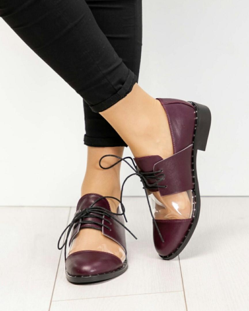 Туфли женские со вставкой силикона цвета марсала