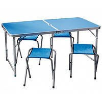 Стол + 4 стула складной чемодан для пикника синий с отверстием для зонта.