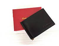 Мужской зажим для денег в стиле Salvatore Ferragamo (201F) black leather, фото 1