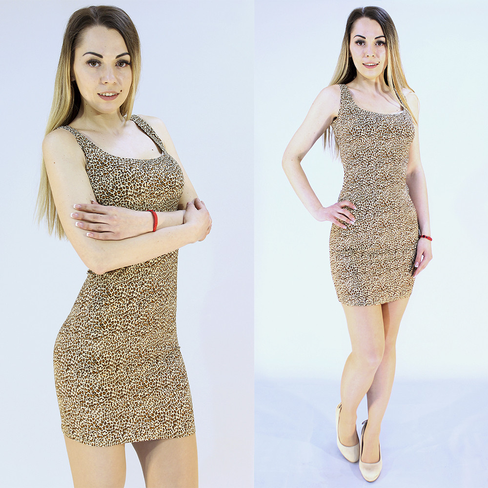Женское платье мини с леопардовым принтом