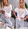 Повседневный женский костюм с футболкой и штанами с лампасами, фото 2