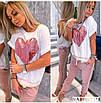 Повседневный женский костюм с футболкой и штанами с лампасами, фото 4