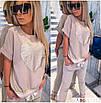 Повседневный женский костюм с футболкой и штанами с лампасами, фото 3