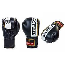 Перчатки боксерские FLEX на липучке ZEL (черный цвет)