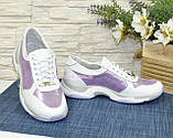 Стильні жіночі шкіряні кросівки на шнурівці, колір білий/лаванда, фото 3