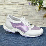 Стильні жіночі шкіряні кросівки на шнурівці, колір білий/лаванда, фото 4