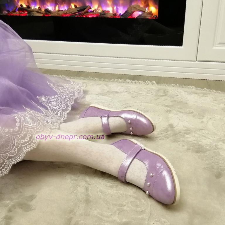 Туфли для девочек, натуральная кожа сатин лилового цвета