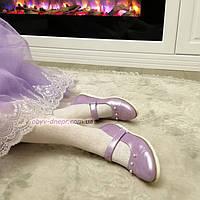 Туфли для девочек, натуральная кожа сатин лилового цвета, фото 1