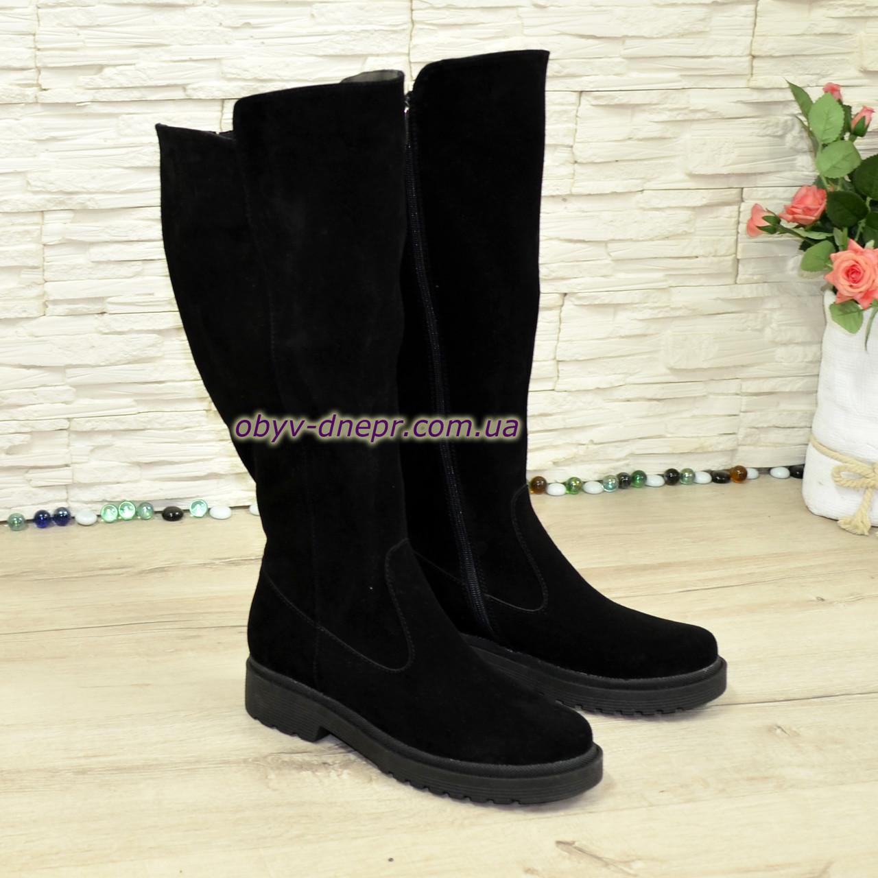 Чоботи жіночі чорні замшеві зимові на товстій підошві