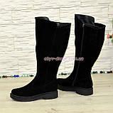 Чоботи жіночі чорні замшеві зимові на товстій підошві, фото 2