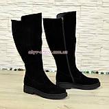Чоботи жіночі чорні замшеві зимові на товстій підошві, фото 4