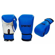 Перчатки боксерские Кожвинил на липучке SPORTKO (синий)