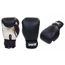 Перчатки боксерские Кожвинил на липучке SPORTKO (черный)