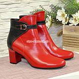 Черевики шкіряні туфлі на невисокому каблуці, колір червоний/чорний, фото 3