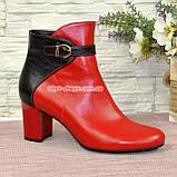 Черевики шкіряні туфлі на невисокому каблуці, колір червоний/чорний, фото 4