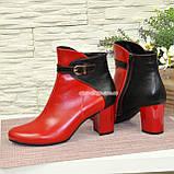 Черевики шкіряні туфлі на невисокому каблуці, колір червоний/чорний, фото 5