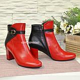 Ботинки кожаные демисезонные на невысоком каблуке, цвет красный/черный, фото 6