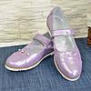 Туфли для девочек, натуральная кожа сатин лилового цвета, фото 6