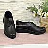 Женские кожаные туфли на утолщенной подошве, на шнуровке, фото 4