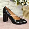 Туфли женские лаковые на высоком устойчивом каблуке, фото 2