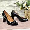 Туфли женские лаковые на высоком устойчивом каблуке, фото 3
