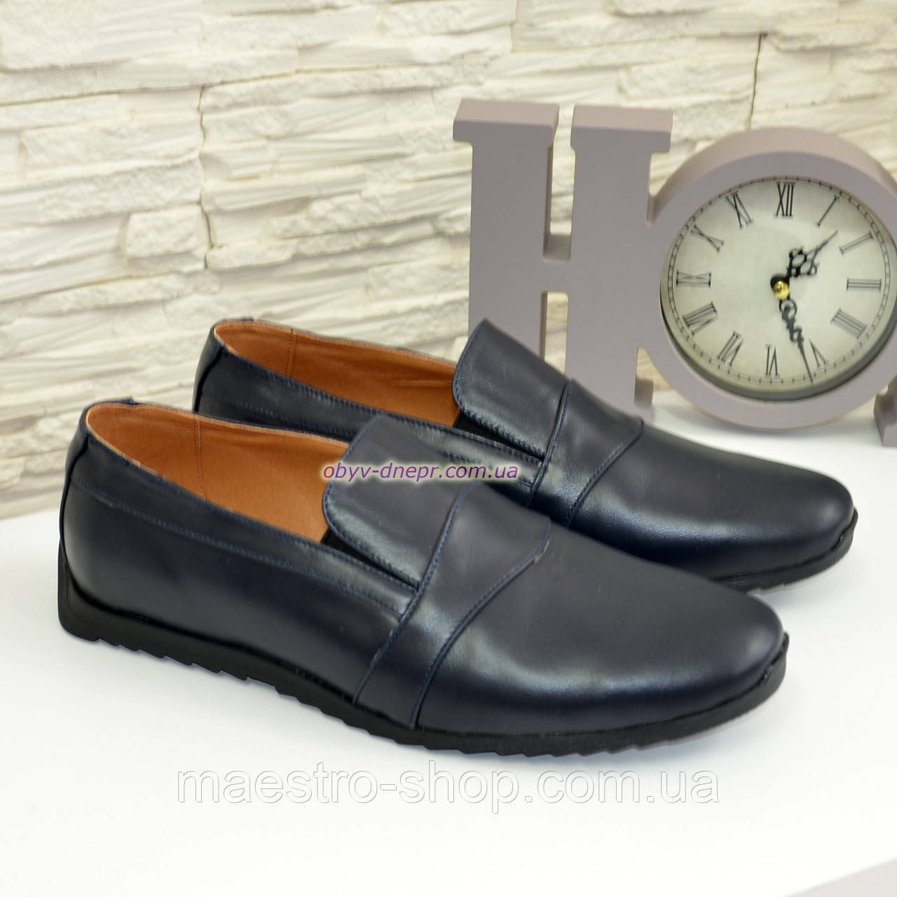 Мужские кожаные туфли-мокасины, цвет синий
