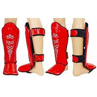 Защита для голени и стопы Муай Тай, ММА, Кикбоксинг ELAST (красный)