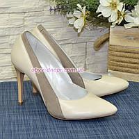 Классические женские туфли на шпильке, цвет бежевый/визон, фото 1