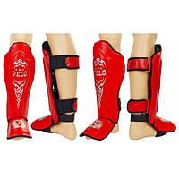 Защита для голени и стопы Муай Тай, ММА, Кикбоксинг VELO ZD-10 (р-р M-XL, красный)