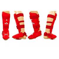 Защита голени с футами для единоборств PU DAE (р-р S-XL, красный)