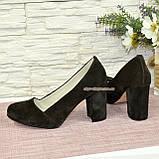 Туфли замшевые на высоком устойчивом каблуке, цвет коричневый, фото 3