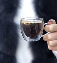 Чашки кофейные двойное дно набор 2 шт по 75 мл стеклянные с двойным дном комплект для кофе эспрессо, фото 3